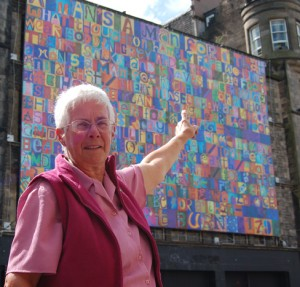 Jan Sutch Pickard, who organised the Ross of Mull workshop, points to her 'g'