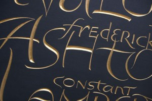 A detail of the gold lettering