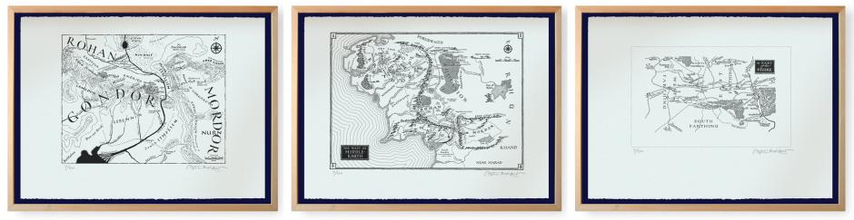 Three maps of Middle Earth, in simple wooden frames