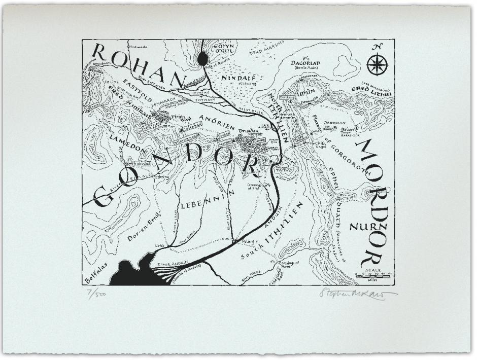 Unframed map of Gondor, Middle Earth